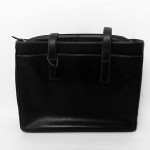 Coach Black Leather Laptop Briefcase Bag